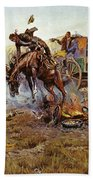 Camp Cooks Trouble Beach Towel by Charles Russell