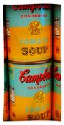 Campbell's Soup Retro Andy Warhol Beach Towel