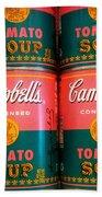 Campbell's Tomato Soup Pop Art Beach Towel