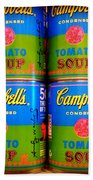 Campbell's Tomato Soup Retro Andy Warhol Beach Towel