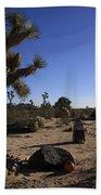 Camping In The Desert Beach Towel