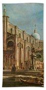 Campo Dei Santi Giovanni E Paolo And The Scuola Grande Di San Marco, Venice Oil On Canvas Beach Towel