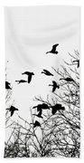 Canada Geese Flight Silhouette Beach Towel