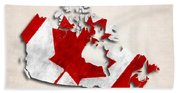 Canada Map Art With Flag Design Beach Towel