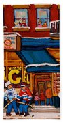 Canadian  Artists Paint Hockey And Montreal Streetscenes Over 500 Prints Available  Beach Towel