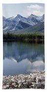 1m3541-canadian Peak Reflected In Herbert Lake Beach Towel