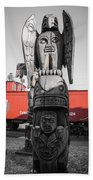 Canadian Totem And Railway Beach Towel