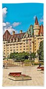 Canadian War Memorial And Chateau Laurier In Ottawa-ontario  Beach Towel