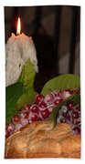 Candle And Grapes Beach Towel by Marcia Socolik