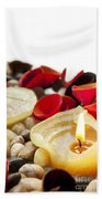Candle And Petals Beach Towel
