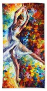 Candle Fire - Palette Knife Oil Painting On Canvas By Leonid Afremov Beach Towel