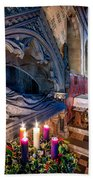 Candles At Christmas Beach Towel by Adrian Evans