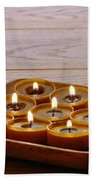 Candles In Wood Tray Beach Towel