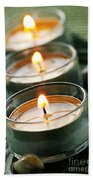 Candles On Green Beach Towel