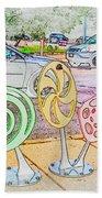 Candy Bike Rack In Colored Pencil Beach Towel