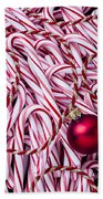 Candy Cane And Red Ornament Beach Towel