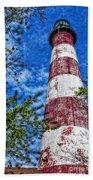 Candy Cane Lighthouse Beach Sheet