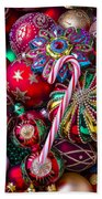 Candy Canes And Colorful Ornaments Beach Towel