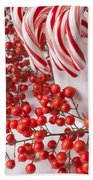 Candy Canes And Red Berries Beach Towel