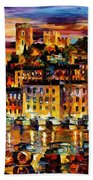 Cannes-france - Palette Knlfe Oil Painting On Canvas By Leonid Afremov Beach Towel