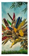 Canoe Art Beach Towel