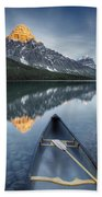 Canoe At Lower Waterfowl Lake With Beach Towel