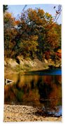 Canoe On The Gasconade River Beach Sheet