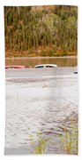 Canoe Tent Camp At Yukon River In Taiga Wilderness Beach Towel