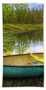 Canoeing At The Lake Beach Towel
