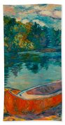 Canoes At Mountain Lake Beach Towel