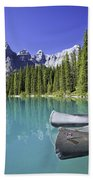 Canoes In Moraine Lake And Valley Of Beach Towel