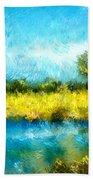 Canola Fields Impressionist Landscape Painting Beach Towel