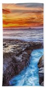 Cape Arago Crevasse Hdr Beach Towel