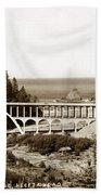 Cape Creek Bridge And Heceta Oregon Head Lighthouse  Circa1933 Beach Towel