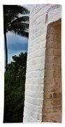 cape Florida light door Beach Towel
