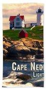 Cape Neddick Lighthouse  At Sunset  Beach Towel