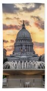 Capitol Building In Madison Wisconsin Beach Towel