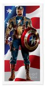 Captain America In Front Of Old Glory Beach Towel