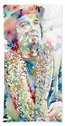 Captain Beefheart Watercolor Portrait.2 Beach Towel by Fabrizio Cassetta
