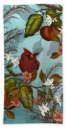 Cardinal And Apples Beach Towel
