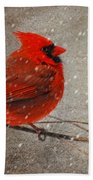 Cardinal In Snow Beach Towel