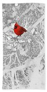 Cardinal In Winter Beach Towel by Ellen Henneke