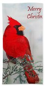 Cardinal Merry Christmas Beach Towel