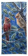 Cardinals And Holly Beach Towel