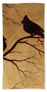 Cardinals Silhouettes Coffee Painting Beach Towel