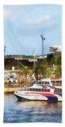 Caribbean - Dock At King's Wharf Bermuda Beach Towel