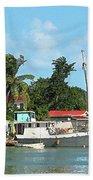Caribbean - Docked Boats At Antigua Beach Towel