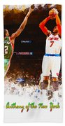 Carmelo Anthony Of The New York Knicks Beach Towel