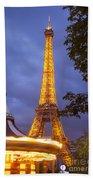 Carousel And Eiffel Tower Beach Towel