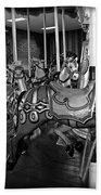 Carousel Horses In Black And White Beach Towel